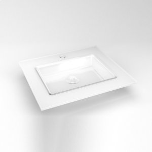 "Glass 25"" X 22"" X 19/32"" Vanity Top In White With Center Integrated Sink and Single Hole Faucet Drillings Product Image"