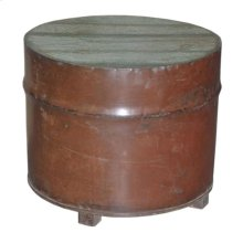 Wood Round Iron Box