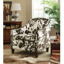 Contemporary White and Brown Accent Chair