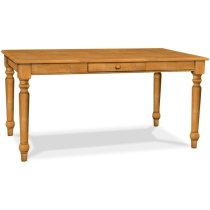 Solid Top Farmhouse Table with Half bullnose edge & one drawer Product Image