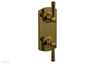 "HEX TRADITIONAL 1/2"" Thermostatic Valve with Volume Control or Diverter Lever Handles 4-100 - French Brass Product Image"