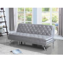 Contemporary Glamorous Silver and Chrome Sofa Bed