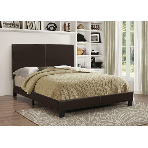 Mauve Upholstered Platform Brown Full Bed