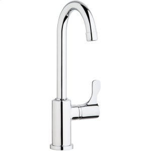 """Elkay Single Hole 12-1/2"""" Deck Mount Faucet with Gooseneck Spout Lever Handle on Right Side Chrome Product Image"""