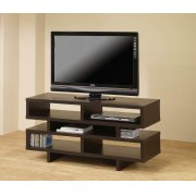 Contemporary Cappuccino Open Storage TV Console Product Image