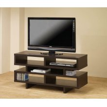 Contemporary Cappuccino Open Storage TV Console