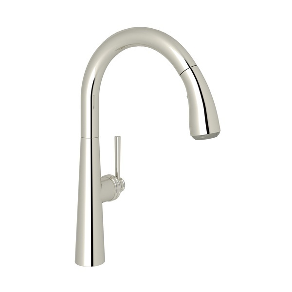 Polished Nickel Lux Pull-Down Kitchen Faucet with Lux Metal Lever