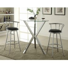 Contemporary Chrome Bar-height Table