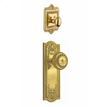 Nostalgic - Handleset Interior Half - Meadows Plate with Meadows Knob in Polished Brass