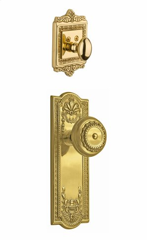 Nostalgic - Handleset Interior Half - Meadows Plate with Meadows Knob in Polished Brass Product Image