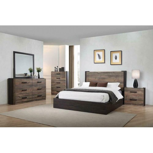 Weathered Oak and Rustic Coffee Eastern King Bed