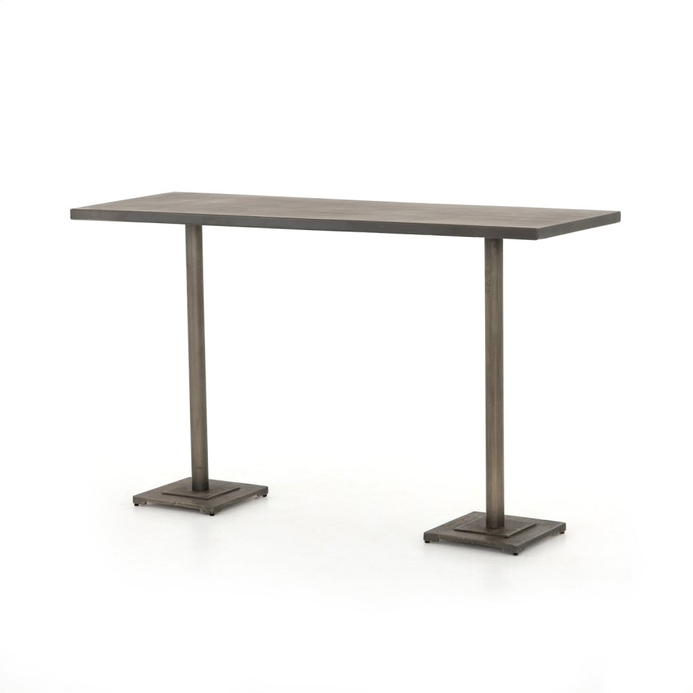 Bar Table Size Antique Nickel Finish Fannin Large Bar + Counter Table