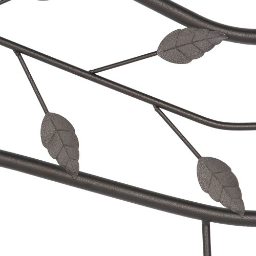 Sycamore Metal Headboard Panel with Leaf Pattern Design and Round Final Posts, Hammered Copper Finish, Queen