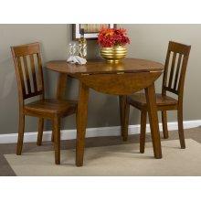 Simplicity Caramel Round Dropleaf Table
