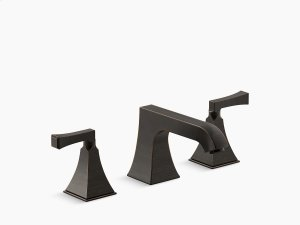 Oil-rubbed Bronze Stately Deck-mount High-flow Bath Faucet Trim With Non-diverter Spout and Deco Lever Handles, Valve Not Included Product Image