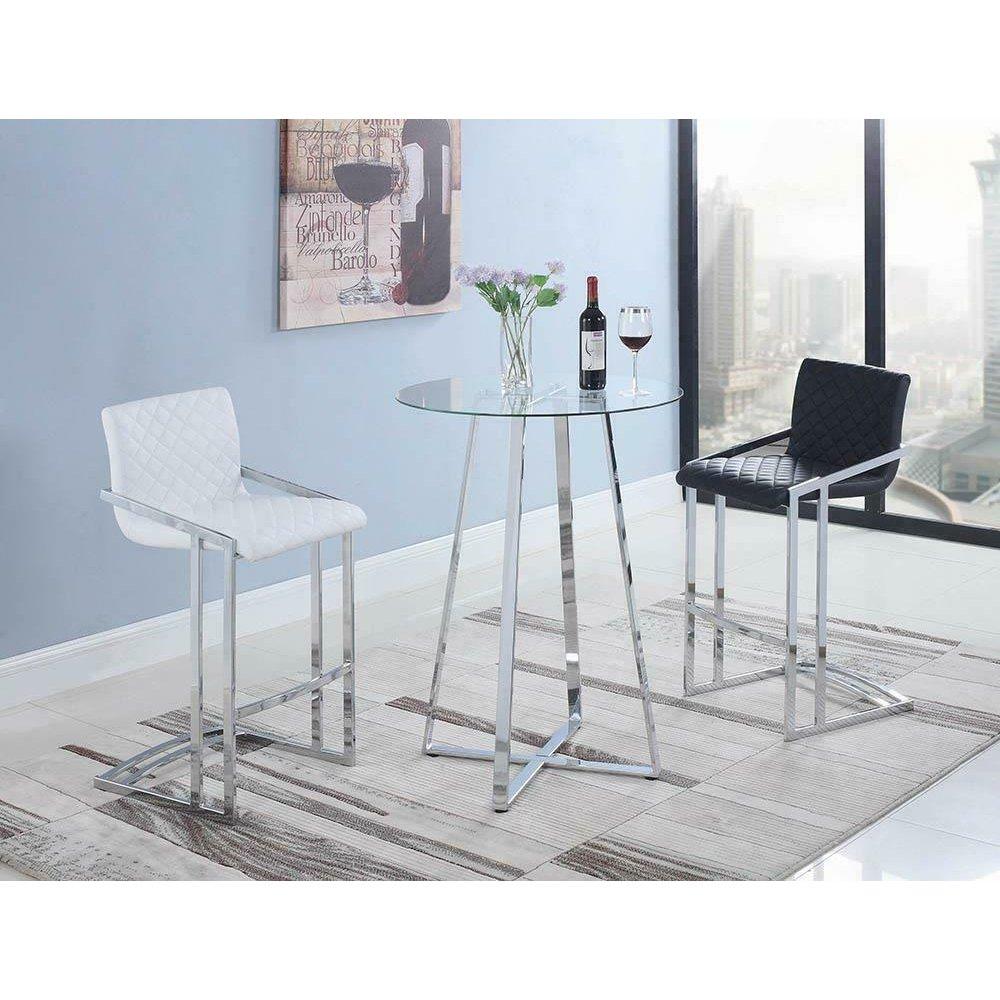 Contemporary Chrome and Glass Bar Table