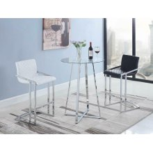 Contemporary Chrome and Glass Bar Table