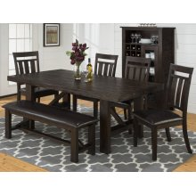 Kona Grove Dining Table With Four Slat Back Dining Chairs and One Bench