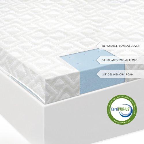 2.5 Inch Gel Memory Foam Mattress Topper Twin