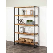 Adler-oak/blk 5 Shelf Bookcase