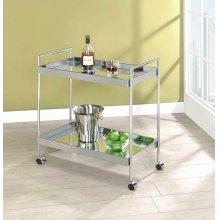 Contemporary Chrome Serving Cart