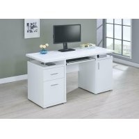 Contemporary White Computer Desk Product Image
