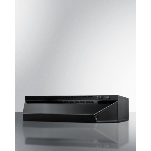 30 Inch Wide Convertible Range Hood for Ducted or Ductless Use In Black Finish