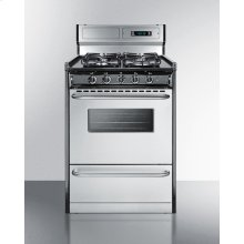 """24"""" Wide Gas Range With Sealed Burners, Stainless Steel Doors, and Deluxe Backguard; Replaces Tnm63027bfkwy"""