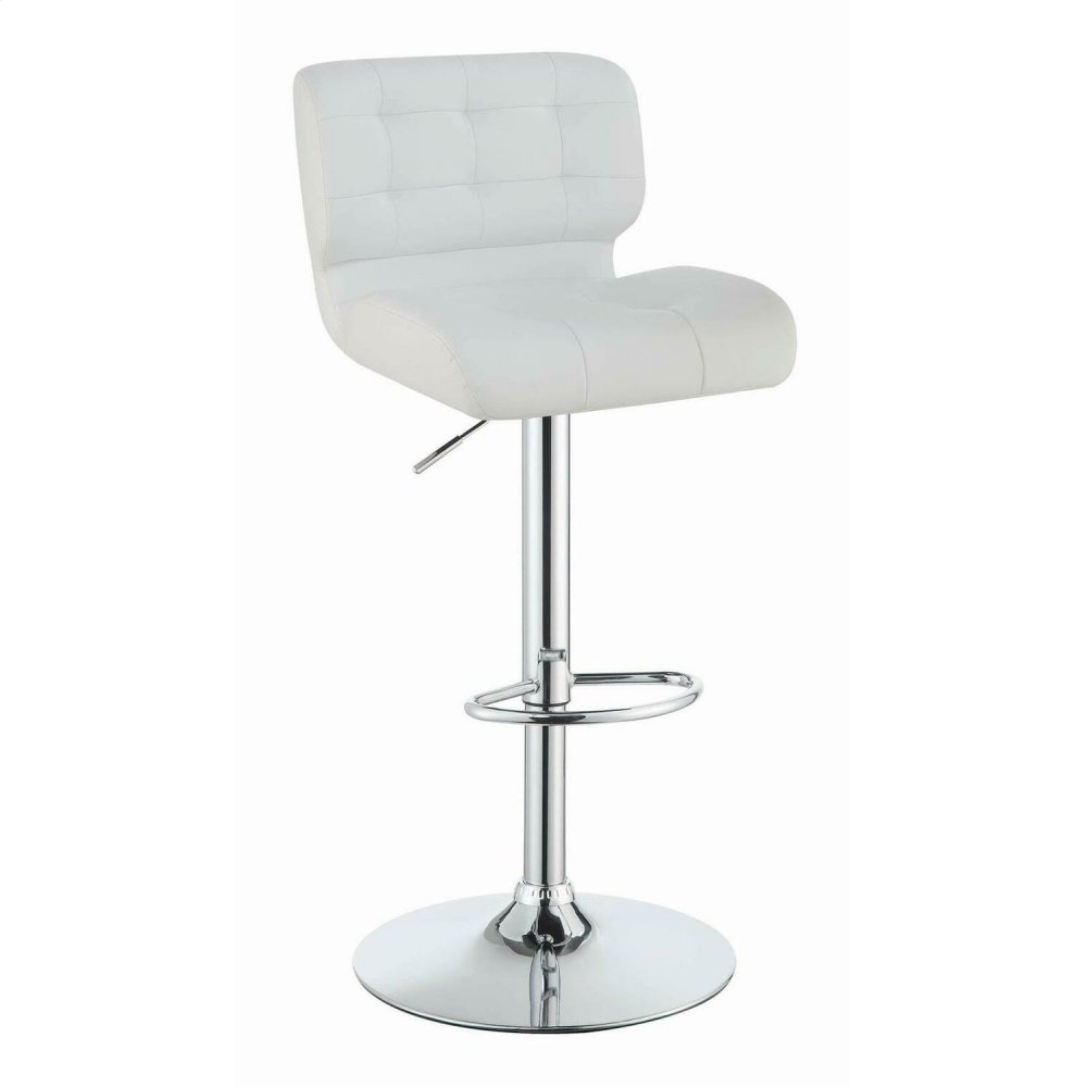 Contemporary White Upholstered Bar Stool