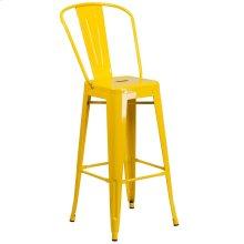30'' High Yellow Metal Indoor-Outdoor Barstool with Back