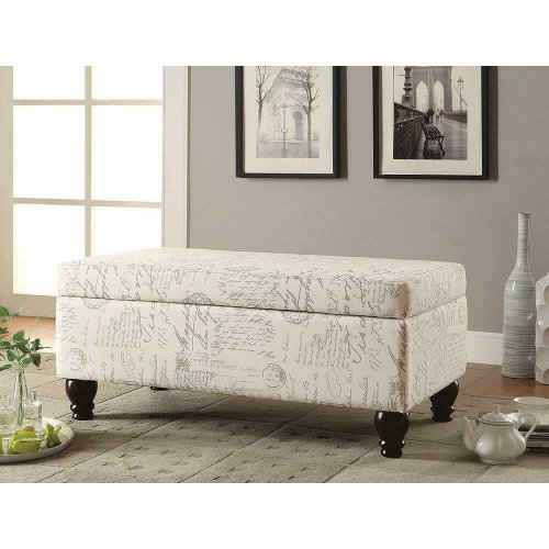 Transitional Off-white and Grey Bench
