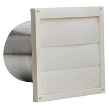 """Wall Cap, White Plastic Louvered, 6"""" Round Duct"""