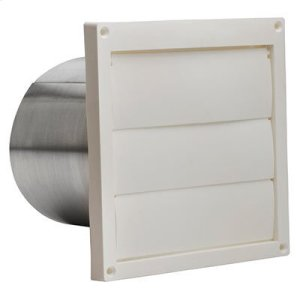"Wall Cap, White Plastic Louvered, 6"" Round Duct"