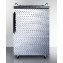 Freestanding Residential Beer Dispenser, Auto Defrost W/digital Thermostat, Diamond Plate Door, Tb Handle, and Black Cabinet; No Tapping Equipment Included