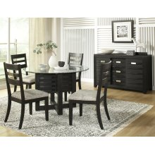 Altamonte Round Dining Table With 4 Chairs - Dark Charcoal