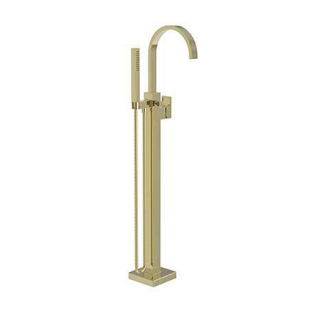 Uncoated Polished Brass - Living Exposed Tub and Hand Shower Set - Free Standing