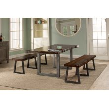 Emerson 3pc Rectangle Dining Set With 2 Benches - Gray Sheesham