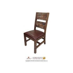 Multicolor Chair with Faux Leather seat