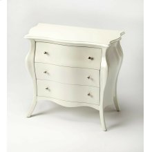 With nary a straight line to be found; this stunning bombe chest is a beautiful addition in any space. Featuring a glossy white finish; this Parisian-inspired design is expertly crafted from poplar hardwood solids and wood products. It boasts three spacio