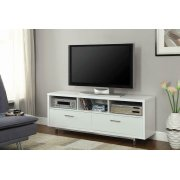 Transitional White TV Console Product Image