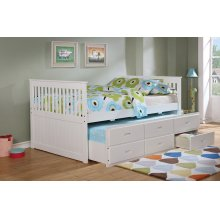Bennett White Full Bed with Trundle & 3 Storage Drawers