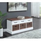 Weathered Brown and White Storage Bench Product Image