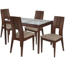 5 Piece Walnut Wood Dining Table Set with Glass Top and Curved Slat Keyhole Back Wood Dining Chairs - Padded Seats