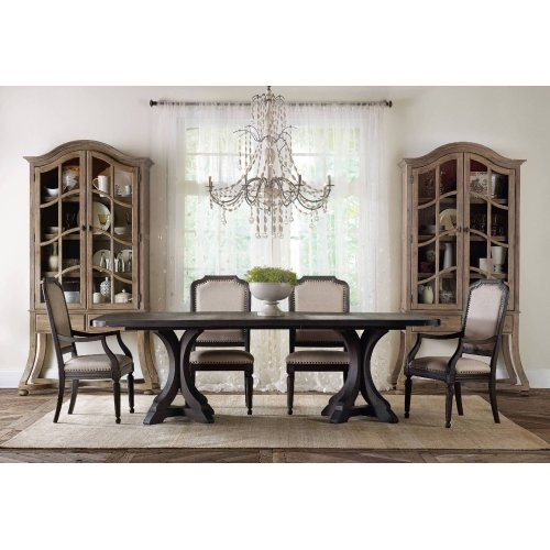 Dining Room Corsica Dark Rectangle Pedestal Dining Table w/2-20in Leaves