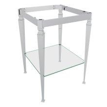 Polished Chrome Deco Wash Stand With Glass Shelf