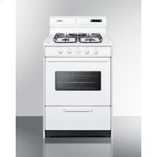 "24"" Wide Gas Range In White With Sealed Burners, Digital Clock/timer, Oven Window, Interior Light, and Spark Ignition"