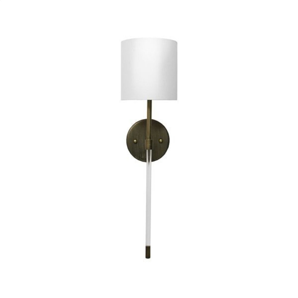 Simple Acrylic Sconce In Painted Bronze With White Linen Shade - Ul Approved for One 60 Watt Candelabra Bulb