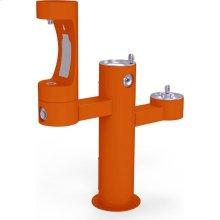 Elkay Outdoor EZH2O Bottle Filling Station Tri-Level Pedestal, Non-Filtered Non-Refrigerated Orange