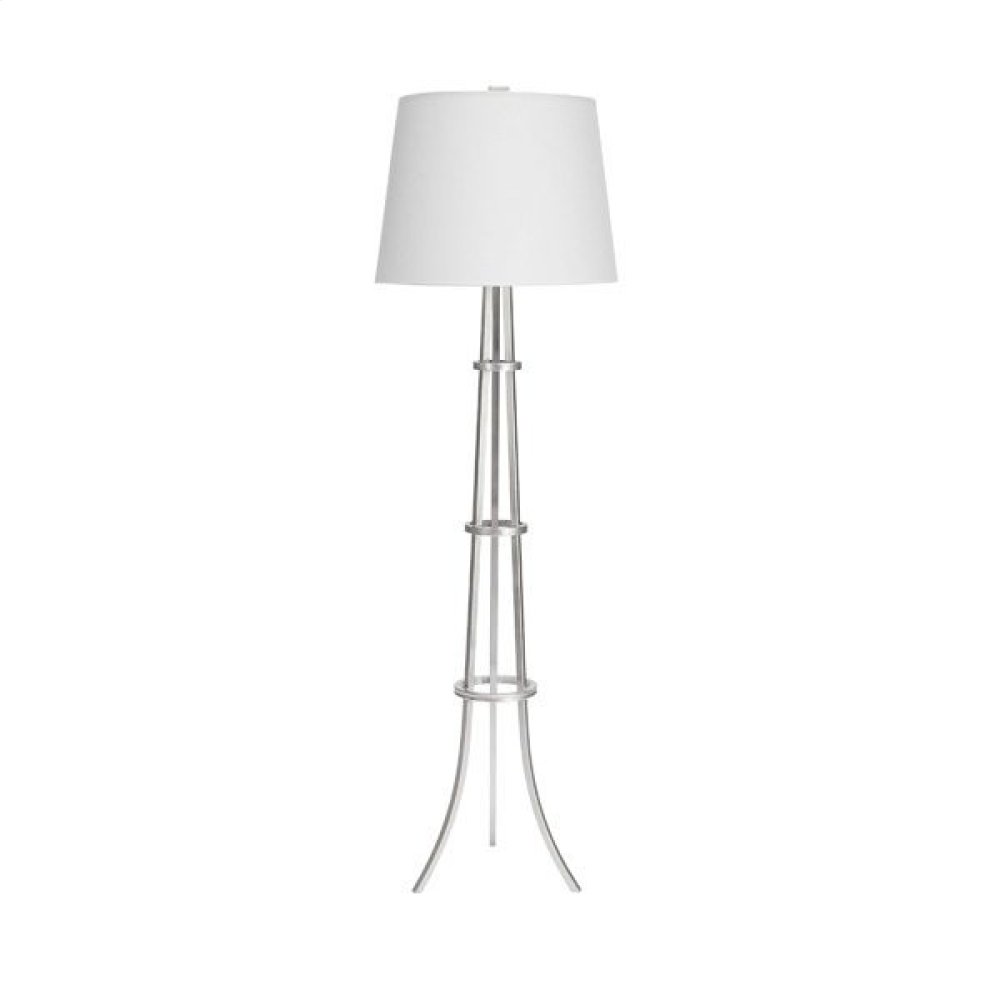 """Three Leg Floor Lamp With Rings In Silver Leaf With 16"""" Diameter White Linen Shade Uses One 60 Watt Bulb"""
