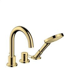 Polished Brass 3-hole rim mounted bath mixer with loop handle